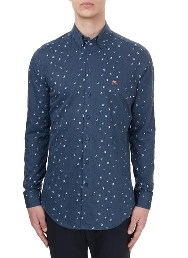 Etro  % 100 Pamuklu Düğmeli Yaka Slim Fit Gömlek Erkek Gömlek 1K964 3005 0200 Lacivert
